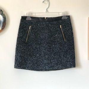 Bouclé faux leather trim mini skirt - size 2